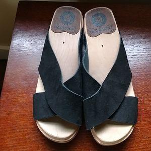 Troentorp Black Suede Slides Sandals 37